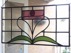 """Beautiful old large hand-painted stained glass sun catcher of """"flowers"""" - 1920's"""