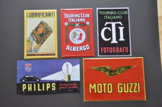 Collection of 5 metal signs - SHELL/PHILIPS/MOTO GUZZI/... - ca. 1980/1990