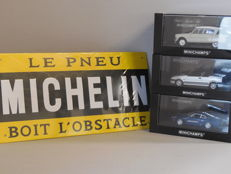 Minichamps - Scale 1/43 - Lot with 3 French scale models & tin Michelin Billboard