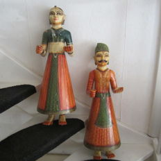 Large wooden dolls (ca. 64 cm) - India - second half 20th century