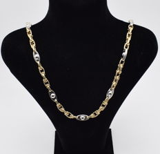 Designed  brand new , white and yellow  gold  14 carat necklace-29.39 g length , 60 x 0.2   cm