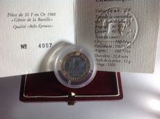 "France - 10 francs 1988 ""Génie de la Bastille"" Proof - 12 g gold"