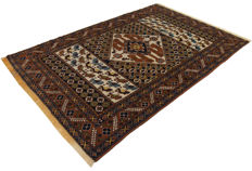 (Size 185 x 126) - ANTIQUE genuine Persian rug - Original (HAND-KNOTTED) (TURKMEN, PERSIA, IRAN) (Era: 1940-1950) - With certificate of authenticity from an official appraiser (Galleria Farah 1970).