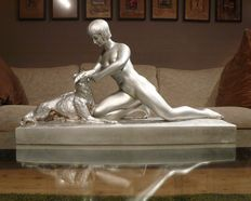 Herman Heusers (1872-1938) - nude with dog - Art Deco silver-plated terracotta sculpture