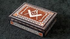Inlaid wooden box - square and compass - inlays in different types of wood, with bone and mother of pearl