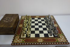 Historical medieval chess - copper, zinc and marquetry