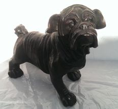Lost wax cast bronze sculpture of a bulldog - France - early 20th century