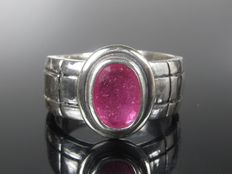 925 silver solitaire ring with ruby men's - ring size 64