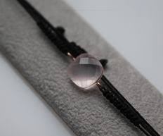 Bracelet set with rose quartz set in 14 kt rose gold, length 22 cm