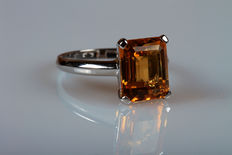 14 kt white gold ring with citrine – size 16