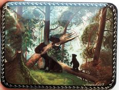 "Russian lacquer box -""Fedoskino"" –  copy in miniature Paintings -""Morning in Sosnovy Bor""- Shishkin"