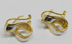 18 kt white and yellow gold earrings in bow shape