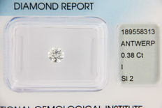 Round brilliant 0.38 ct diamond – colour: I – clarity SI2 – IGI certificate – Laser Inscription