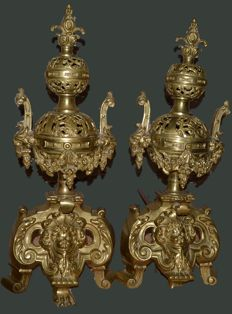 Pair of andirons in Louis XIV style in gilt bronze - Napoleon III -France - circa 1870