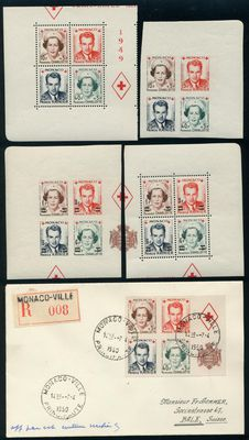 "Monaco 1949 - ""Red Cross"" - 10 Fr - 40 Fr"" miniature sheets with and without overprint"" a total of 5 blocks ex. Michel 397-400 and 451-454"