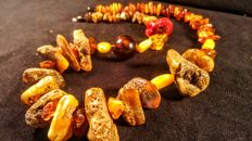 Baltic Amber necklace 157 grams, Length 72 cm
