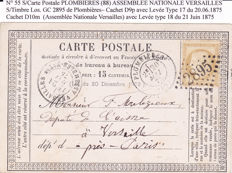 "France 1863 to 1875 - 1 cancelled card  ""Assemblée Nationale  Versailles"" + 17 ""Etoile de Paris"" letters + 8 ""Sage"" letters"