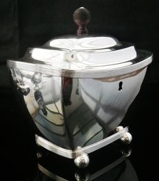 Dutch Antique Silver Tea Caddy, retailer Diemont, Jacobus Carrenhoff, Amsterdam, 1815