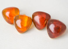 Set of natural Baltic amber cuff links natural butterscotch, egg yolk amber