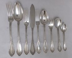 Wolfers Brussel - Art Nouveau solid silver cutlery -  97-pieces - 5 kg