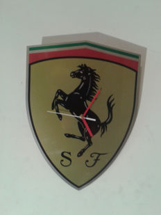 FERRARI logo as the clock on the wall - Stainless steel INOX - 2015