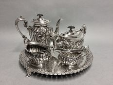 Antique silver plated tea- and coffee set on a serving tray, H.F & Son, England, ca. 1880