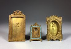 Three miscellaneous brass photo frames - France - ca. 1900
