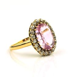 Circa 1900's Authentic Natural Rose Stone & Diamond  18K Yellow Gold Ring - Size 59 - Very Good Condition