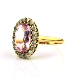 Circa 1900's Authentic Magnificent Natural Rose/ Pink KUNZITE Stone & Diamonds (tot.+/-1.50CT) set on 18K/750 Yellow Gold Ring