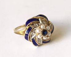 Antique gold ring with enamel, diamonds, pearls and sapphire