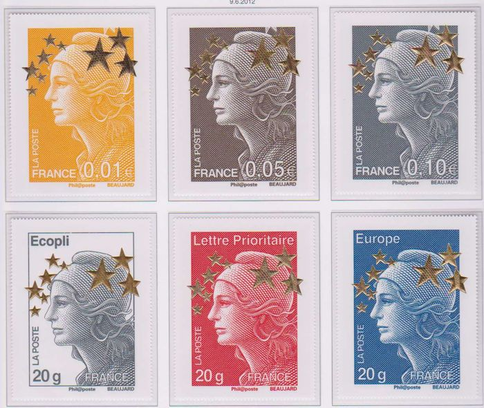 France 2012 - Maxi-Mariannes & Gold star 60 x 80 Beaujard type