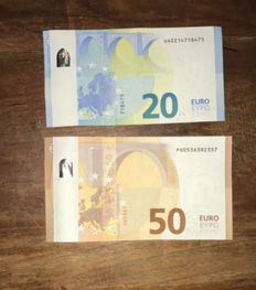 European Union - misprint - 20 and 50 euros 2015/17 - white strip on the back - including intentionally cropped 5 euros 2002