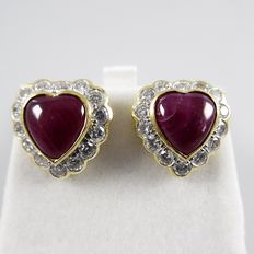Earrings with heart-shaped rubies with brilliants – Diameter: 1.5 cm