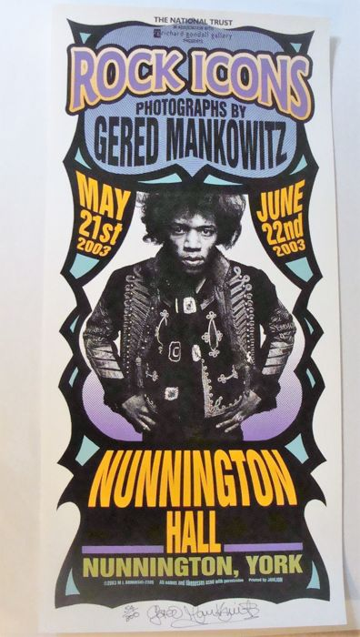 "Gered Mankowitz Exhibition Poster - Art Show ""Rock Icons"" by Mark Arminski"