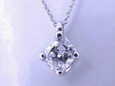 White gold solitaire pendant with one cushion cut diamond of 0.42 ct *** No reserve price ***