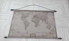 A fabric world map - XL - can be rolled up with metal decorative rods