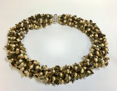 Necklace tigereye - pearl - length 42 cm - new with 925 silver lock