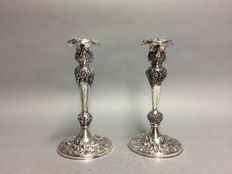 Set of silver plated candle holders, Barbours International Silver Company, England, ca. 1900