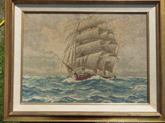 Boat tapestry with wooden frame
