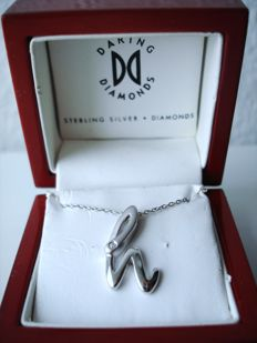Vintage - 1970s - USA - Daring Diamonds - Sterling Silver Necklace = Chain + Pendant with Genuine Diamond in original gift Box