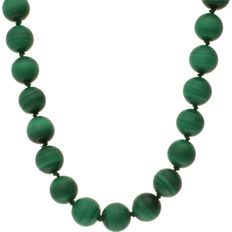 Malachite spheres necklace with 14 kt yellow gold spherical clasp – Length 41.5 cm