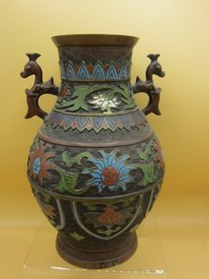 Antique bronze cloisonne vase with stamp seal - Japan - late 19th century