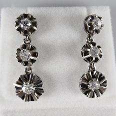 White gold earrings with old European cut diamonds, length 2.4 cm.