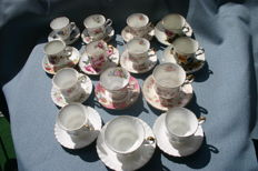 14 English cups and saucers