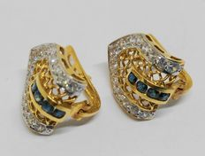 18 kt yellow gold earrings with sapphires and zirconias