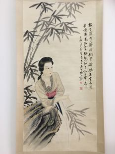 Ink painting, lady lean against a stone after Zhang Daqian - China - late 20th century