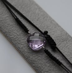 Bracelet set with amethyst, inlaid in 14 kt white gold – Length up to 22 cm