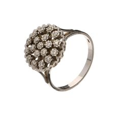 14 kt white gold ring shaped like a flower with 19 brilliant cut diamonds of approx. 0.38 ct in total - Inner size: 18