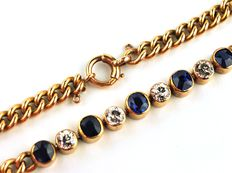 Diamond & Sapphire, Gold Bracelet - 4 Old Cut Diamonds (total 1.20ct - IJ/VSSI) & 5 Ceylon Sapphires (4.5 x 3.5mm) Set On 18Karat Gold-Length 18.2cm
