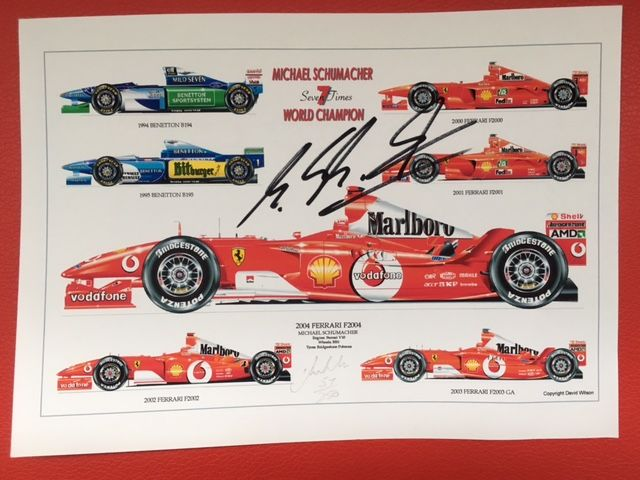 Art print 7-time World Champion Michael Schumacher, original, signed